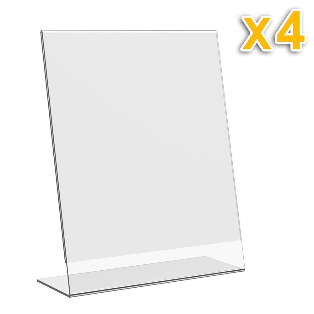Eagle Slant-Back Sign Holder, 8.5 X 11 Inches, Clear Acrylic, Side Insert, Pack of 4