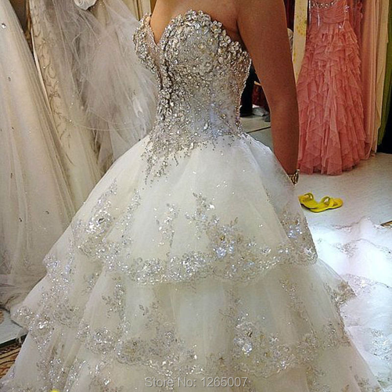 Glitter Wedding Gowns: 2015 Ruffles Long Train Sparkly Silver Diamond Crystal