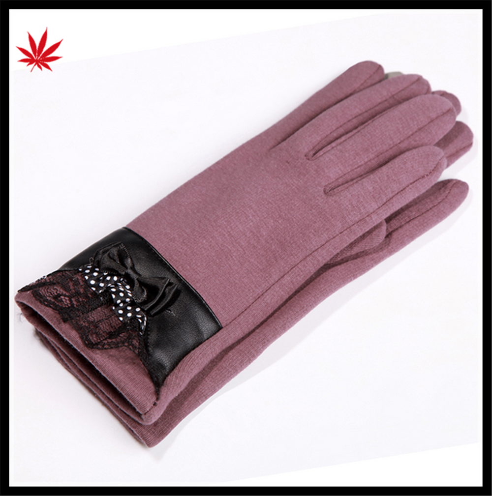 Lady's simple style economical warm gloves with super soft polyester lining
