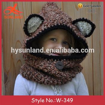 W-349 Fashion Handmade Knit Animal Beanie Fox Hooded Cowl Hat With ...