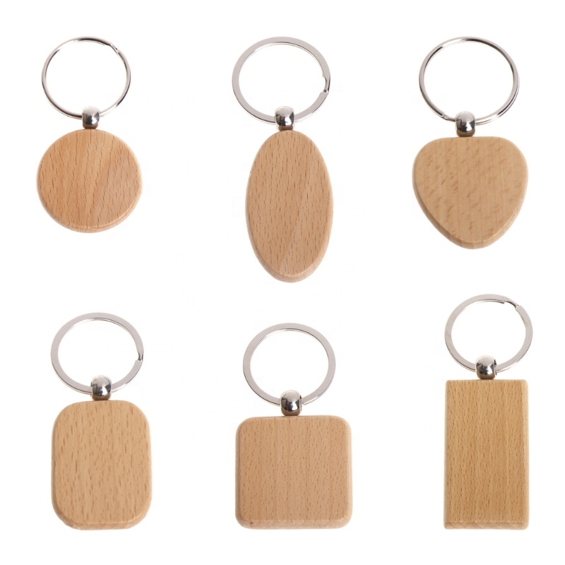Wholesale Design Cheap Wood Printed Engraved Custom Logo Keychain
