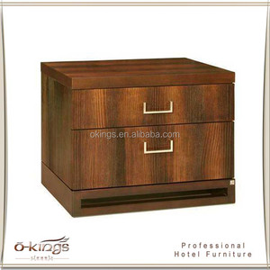 Solid wood veneer MDF bedside table with 2 drawer for sale