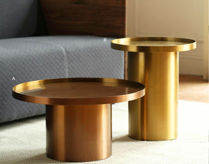 Brushed copper stainless steel round coffee table