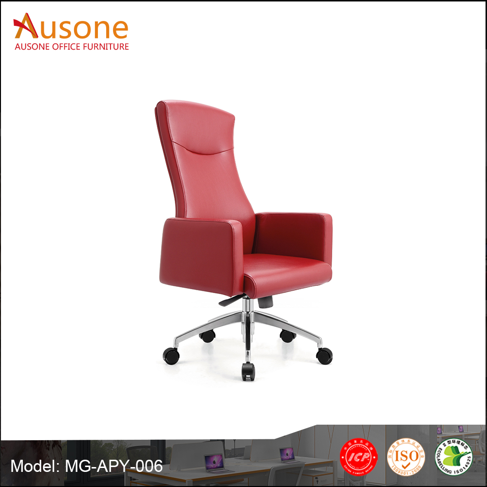 Top Class Furniture Red Leather Padded Swivel Manager Office Chair