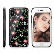 XINGE Fashionable Anti-Shock Flower Painting Tempered Glass Protective Mobile Phone Case Back Cover For Iphone X