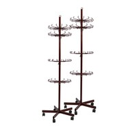 Customize Rotary Retail Floor Stand With Hook Metal Display Rack With Wheel