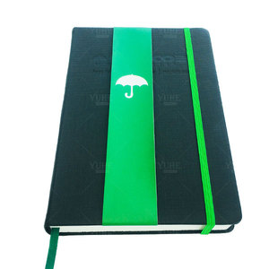 2019 stationery high quality black A5 diary sew binding leather notebook with debossed logo