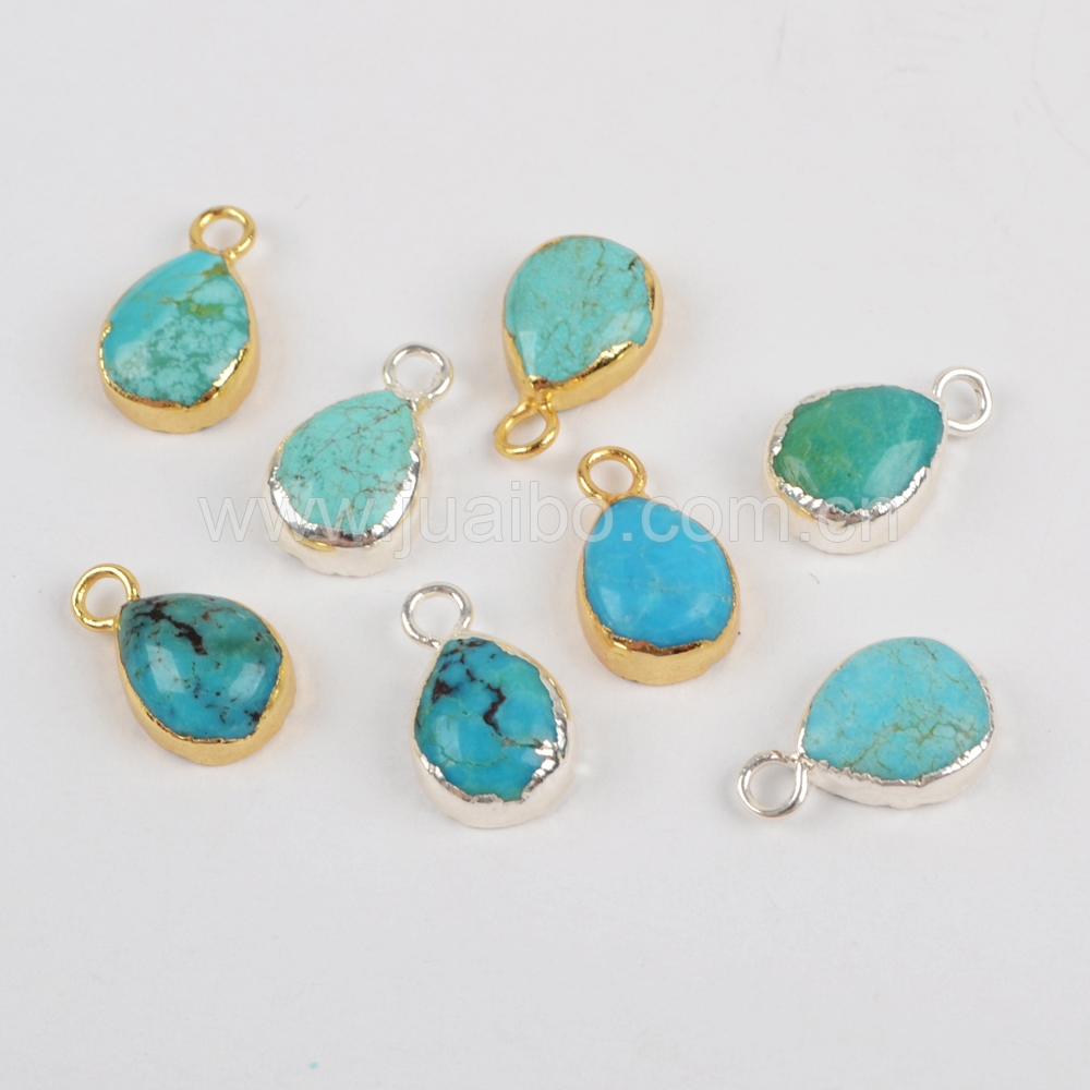 G/S1371 Newest boho jewelry gold or silver plating natural teardrop turquoise gemstone pendants