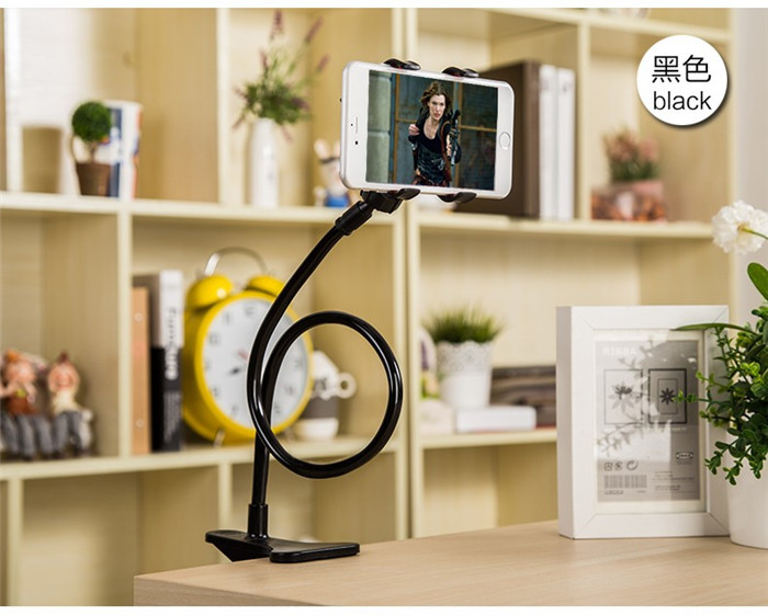 Hands-free Flexible Rotating Swivel Desktop Mount Bracket Phone Holder Lazy Bed Clip Aluminum Alloy Stand for Xiaomi Redmi Note