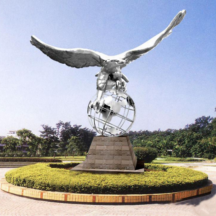 Outdoor Abstract Stainless steel sculpture With Eagle And Earth