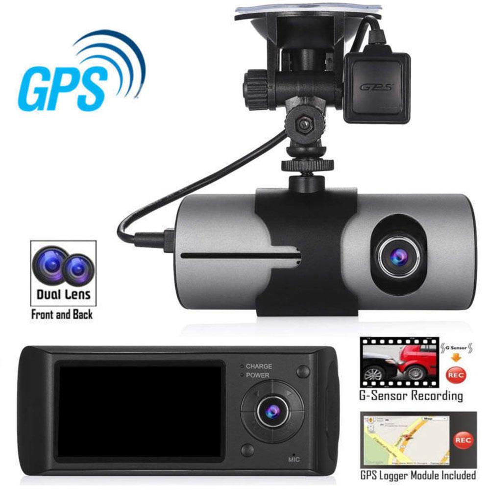 Ebayのホットモデルタクシー2.7インチgセンサーgpsロガーデュアルカメラダッシュカムでgps r300車dvr