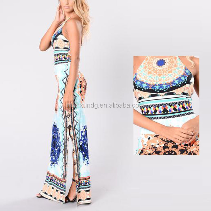 Mujeres Sexy Backless Partido Backless Halter Cuello Floral Impreso ...