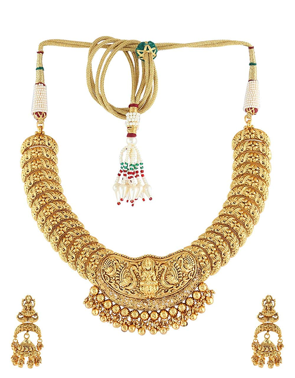 Anuradha Art Golden Finish Styled With Temple Look Designer Traditional Necklace Set For Women/Girls