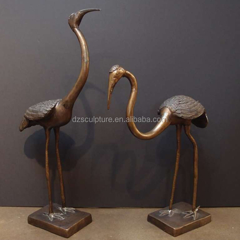 Antique Br Metal Animals Birds Crane Statue For Garden Decor Bird Sculpture Product On Alibaba