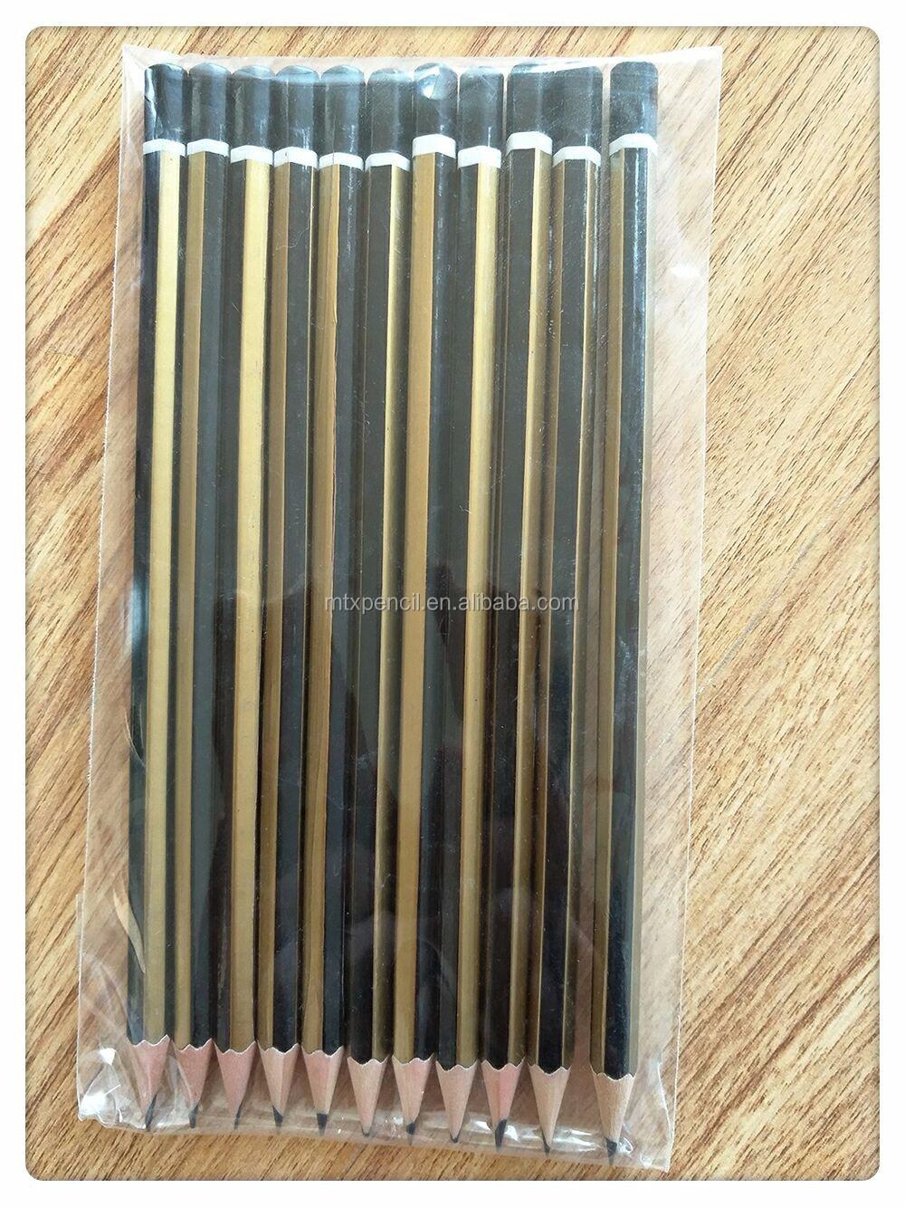 Hot Sale Hb Pensil Kayu Hitam Panjang Dengan Pencetakan Logo Kustom Pinsil
