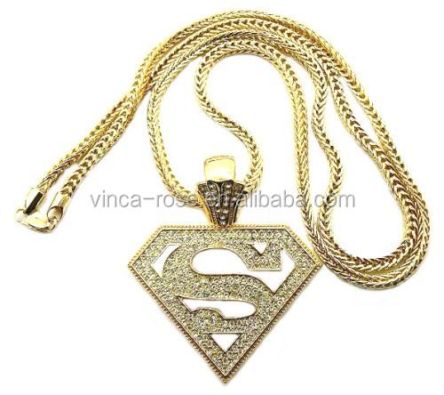 Custom made bling USA super hero men big iced out real gold necklace jewellery micro pave cz hip hop fashion pendant jewelry set