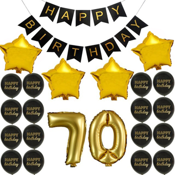 Happy Birthday Decoration Gold Foil Star Balloons 70th Party Supplies
