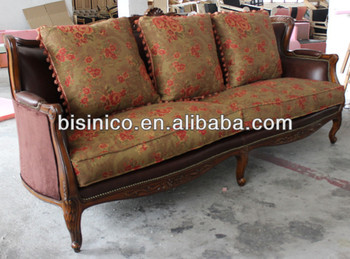 Spanish Style Living Room Furniture Set, Antique Sofa With Wooden Carved