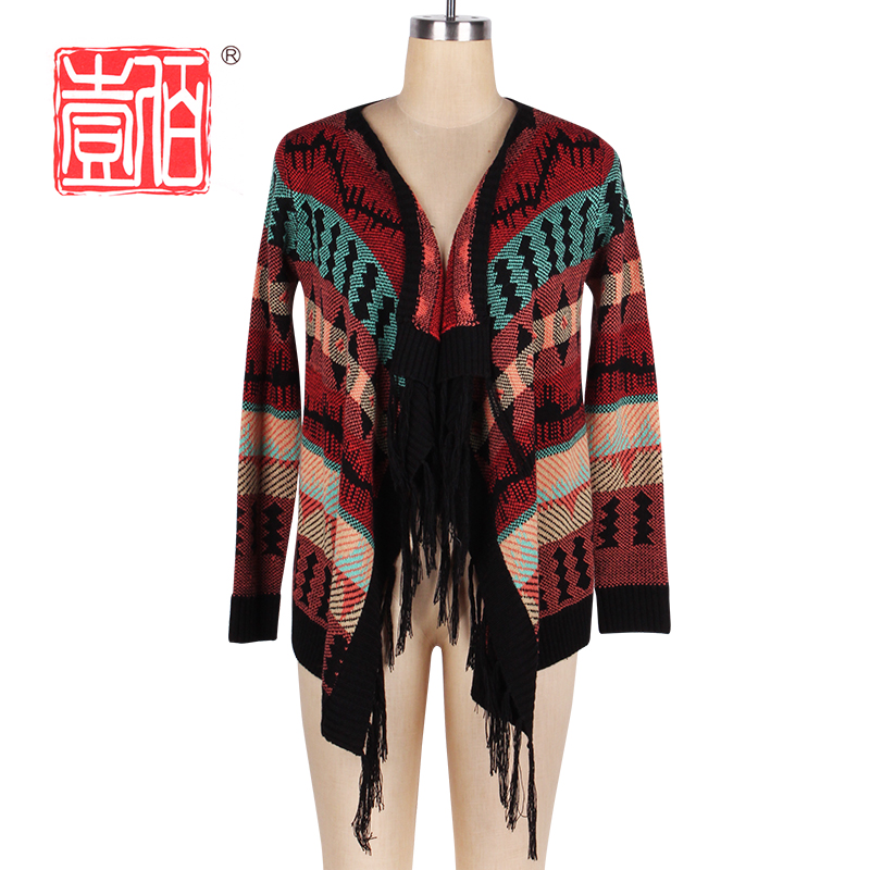 retro fashion knitted coat cloak cardigans wool sweater design for girl with tassels