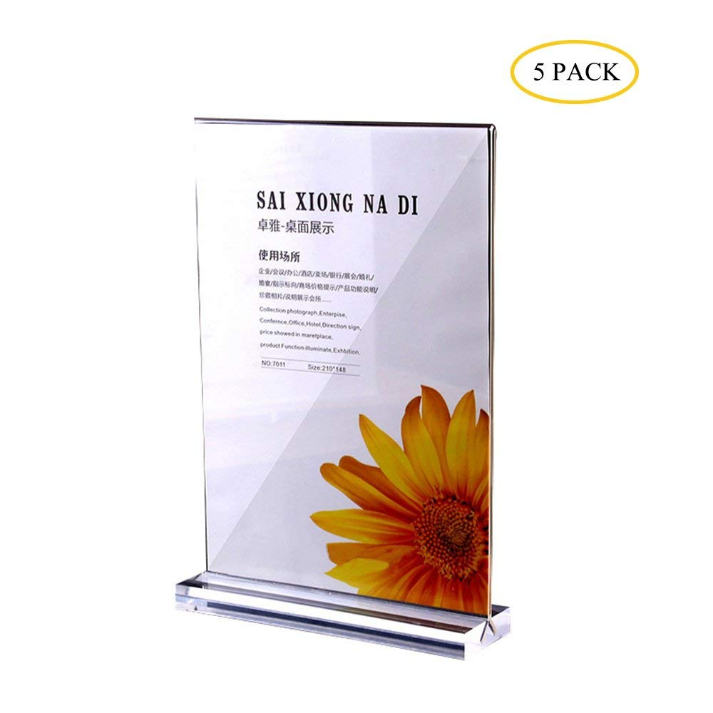 A4 Acrylic sign holder portrait counter poster Display stand,transparent and Double -sided presentation, presentation stand suitable for advertisement (5PCS Sign holders)