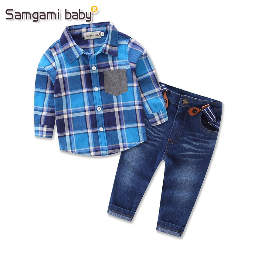 spring gentleman Children's clothing sets baby boy denim suit set Kids clothing set plaid long sleeve shirts+trousers/jeans