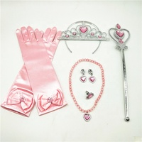 6pcs/set Princess Dress up Accessories Set Princess Gloves Tiara Crown Tiara Magic Wand Necklaces Bracelet Earring Ring
