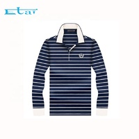Cheap Price Cotton Long Sleeve Printed Striped Mens Polo Collar TShirt