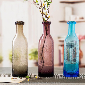 Wholesale Custom Colored Cylinder Tall Thin Glass Vase With Bubble