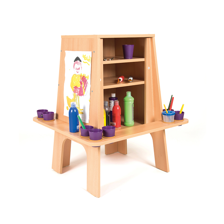 ... Three Sides Wooden Easel Stand Montessori Kids Drawing Board