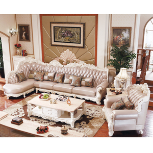 European style sectional L shape full leather sofa set from foshan furniture