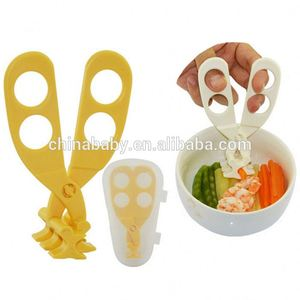 Best sell multifunctional portable safety plastic pp baby food cutting scissors