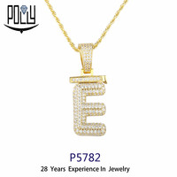Hip Hop Jewelry diamond gold letter pendant necklace Custom Name