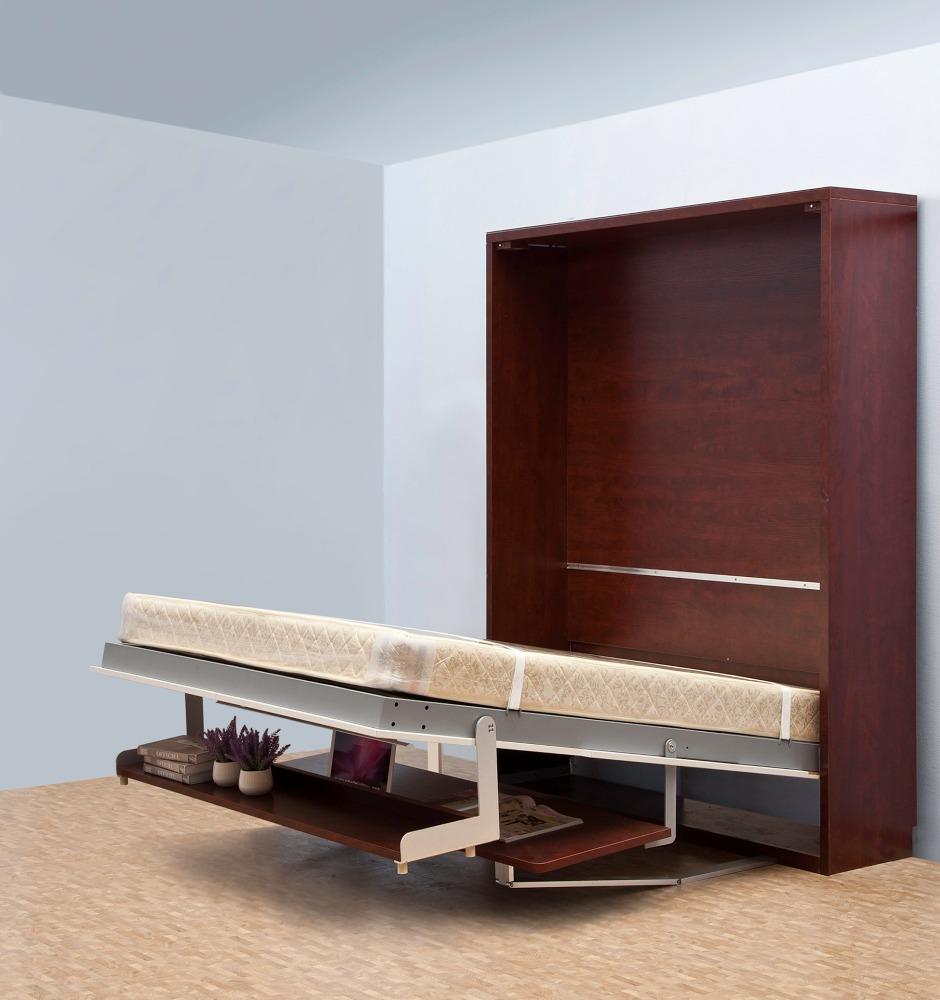 Ahorro de espacio vertical murphy pared oculta con librero de madera ...