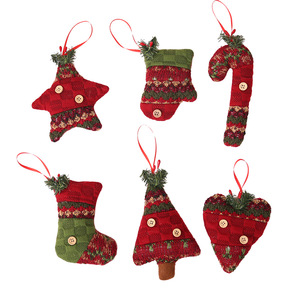 New Design Decoration Supplies Cloth Snowflake Hanging Doll Christmas Tree Ornaments