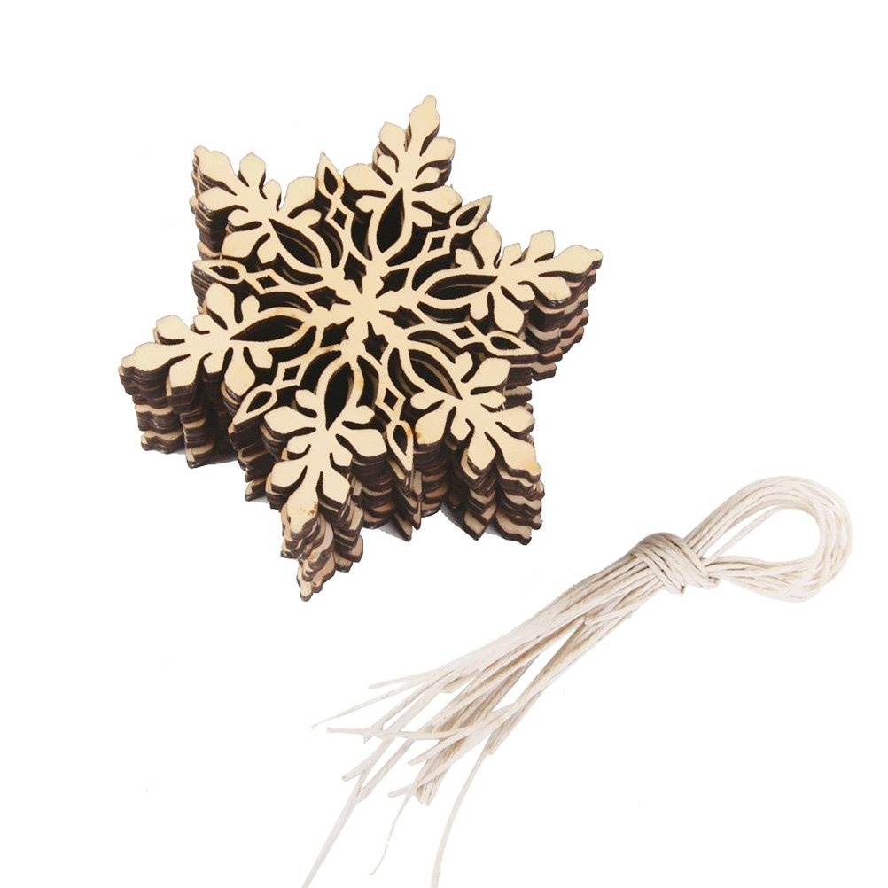 Tinksky 10pcs Sharp Hexagonal Wooden Snowflake,Christmas Tree Decorations,Hanging Ornament,Christmas Decoration Pendants (Wood Color)
