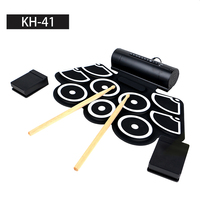 Percussion Musical Instruments Hand Roll Up Mini silicon foldable electronic drum kit with speaker