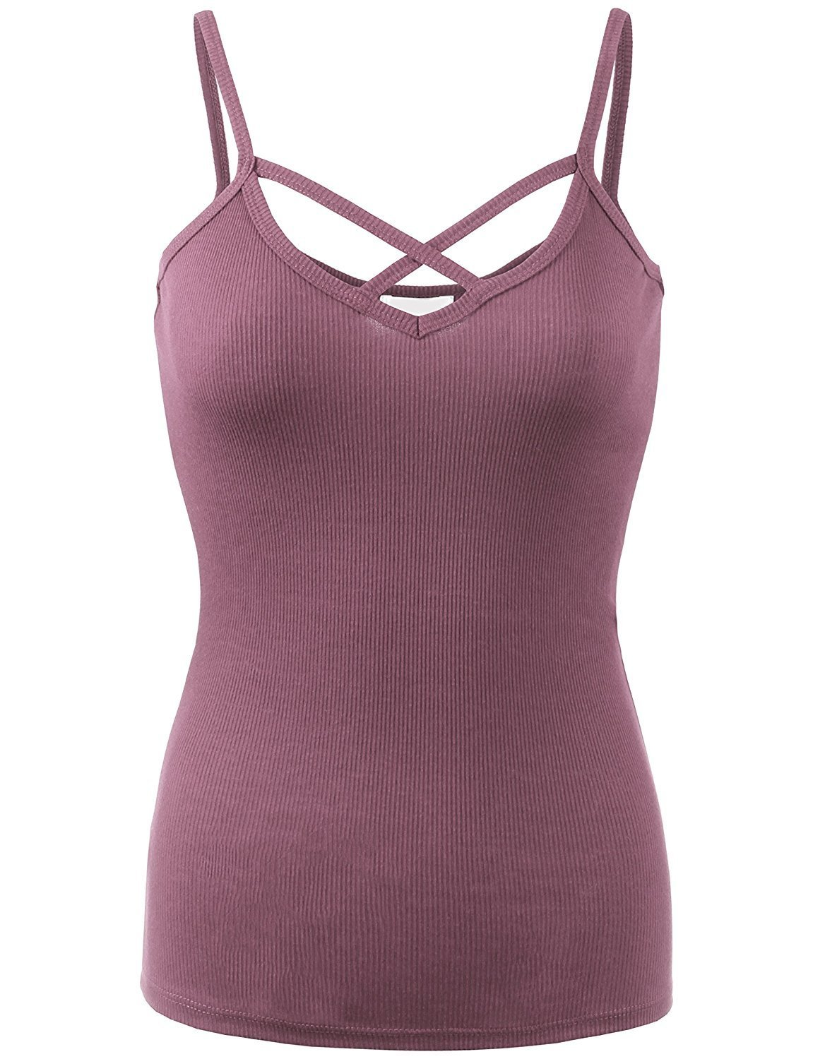BABY-QQ Comfortable Womens Solid Ribbed Crisscross Cami Top-M-DUSTY_ORCHID Doubldowt469_dusty_orchidMedium