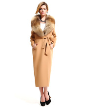 Maxnegio Top Grade Fashion Women Winter Covered Button Slim Long Wool Coat Fox Fur Collar Double Side Cashmere Warm Coat