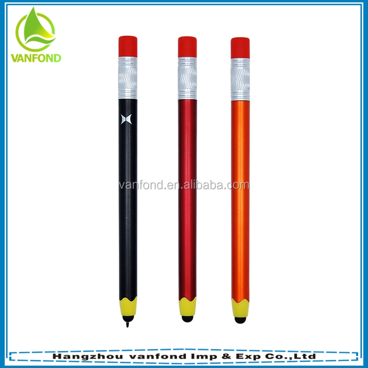 New design plastic pencil shape slim touch tip pen with stylus