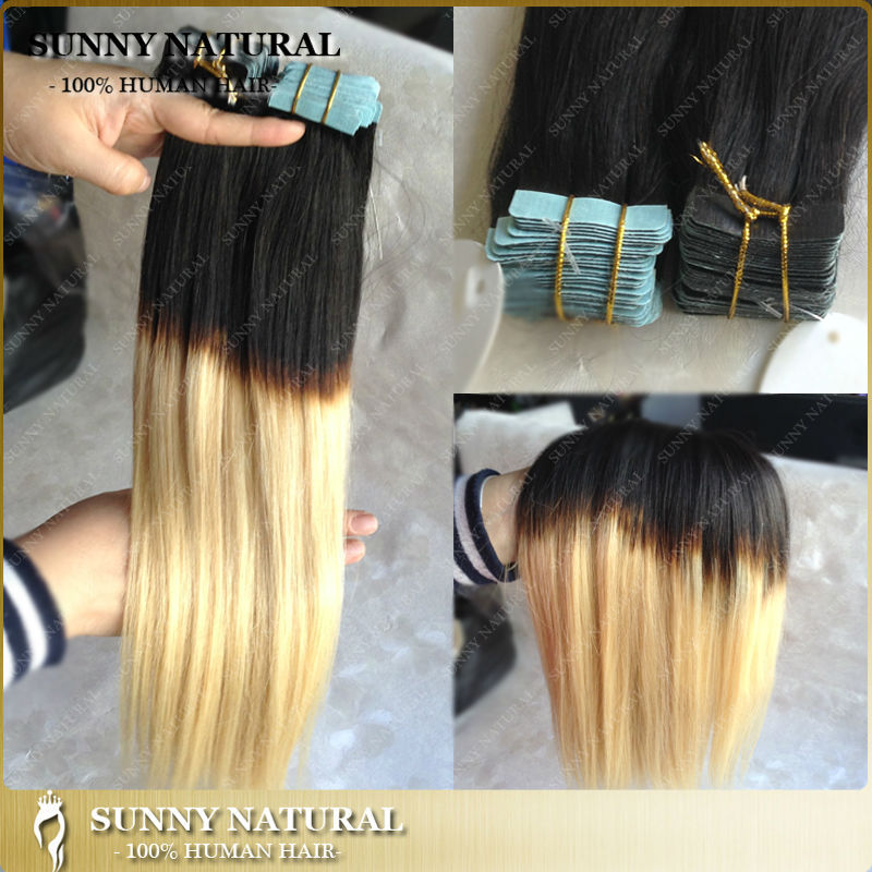 1b613 Ombre Tape Hair Extensions 40pcs Two Tone Blonde European