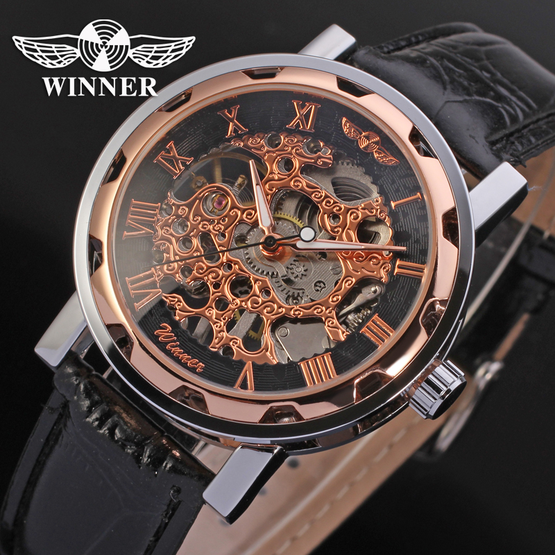 AW036 Hot Sale Hand Wind Mechanical Skeleton Mens Winner Watch