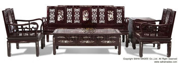Sofa Set Classic Design 5 Piece Rosewood With Mother Of Pearl Inlaid