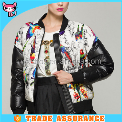 Fashion Women Jacket Duck Down Feather Print