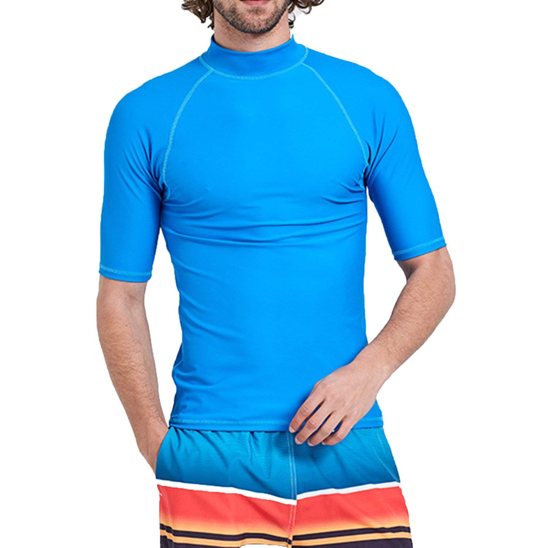 4662f9f0b36a Get Quotations · Surf Men s Rashguard UV Sun Protection Swim Shirts Basic  Skins Tee Sun Shirt Surfing Diving Shirts