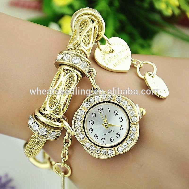 diamante ouro feminino e pulseira de prata das mulheres de quartzo relógio  de luxo com pingente 75cc39362f