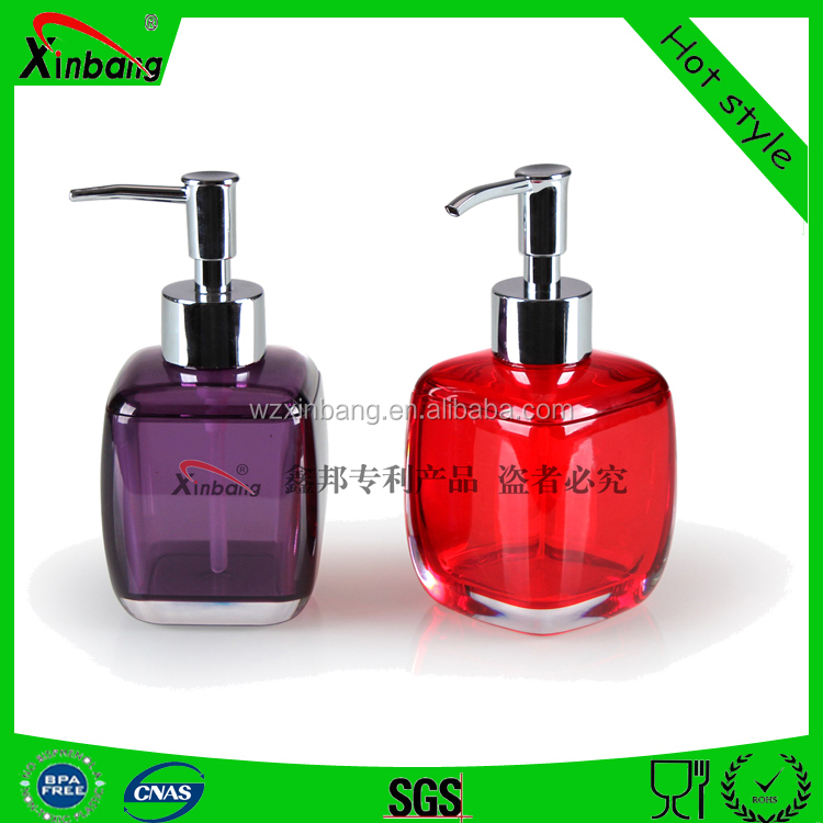 Square acrylic Soap dispenser lotion bottles and liquid soap dispenser