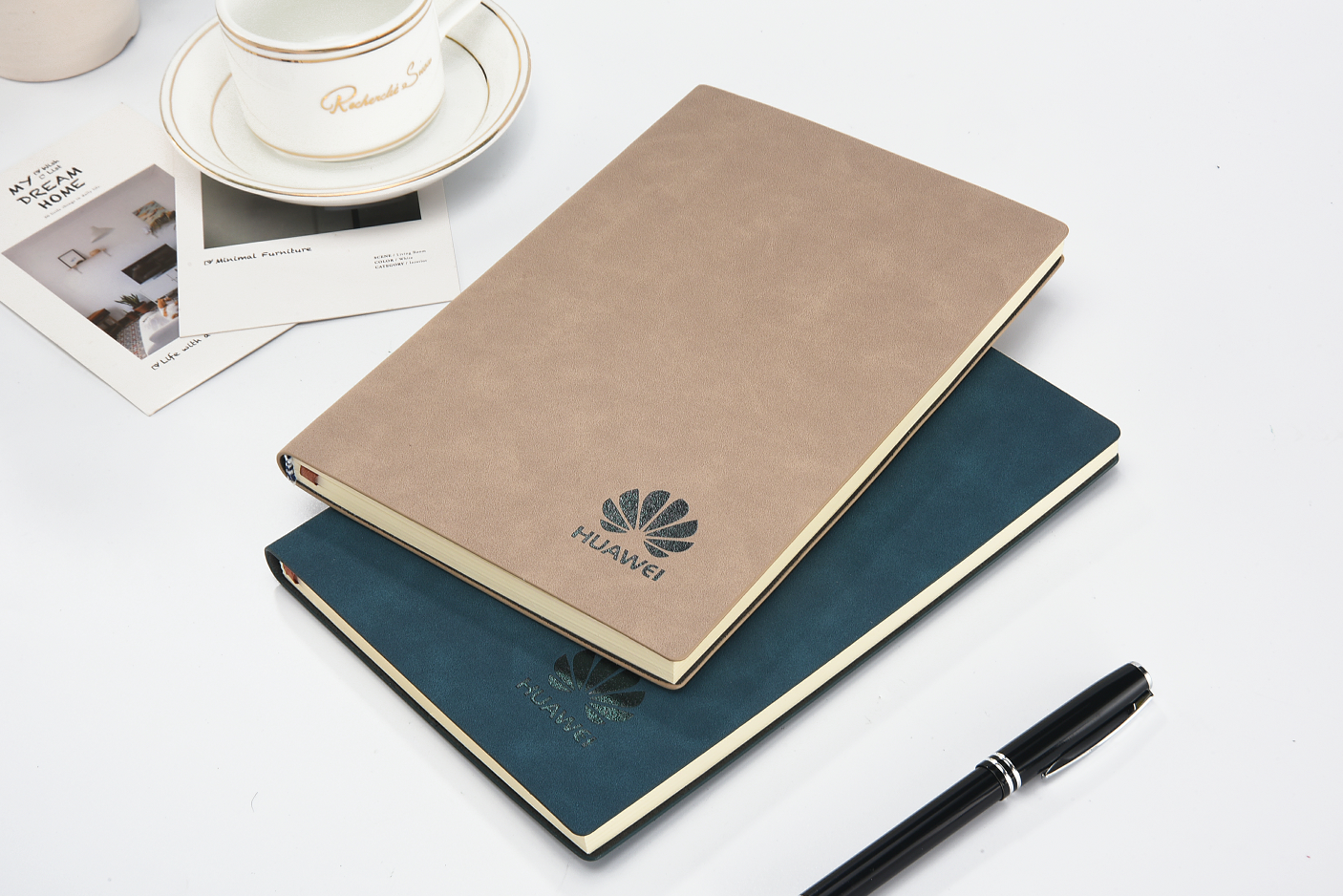 A5 cheap custom leather notebook design pu leather hardcover sewing binding paper notebook for gift school office