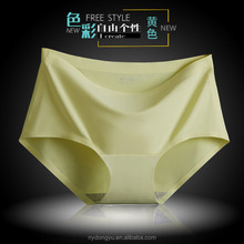 yellow pink solid color ice silk briefs panties women seamless sexy panties sexy underwear
