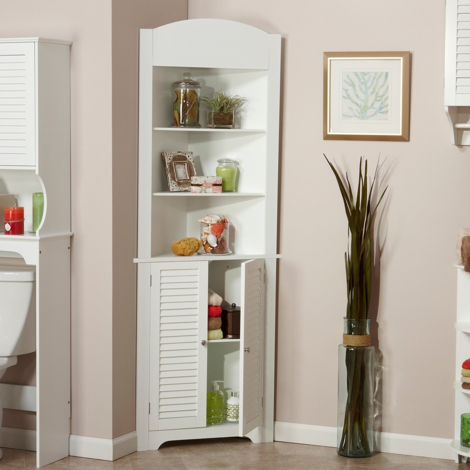 Tall Corner Etagere with White Shutter Door Corner CabinetRoom Décor Furniture Corner Wall Cabinet Corner Storage Cabinet Corner Bathroom Cabinet Corner Cabinet Shelf Corner Kitchen Cabinet (White)