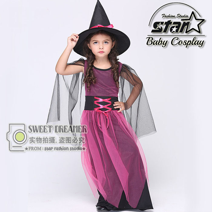 2016 New Style Halloween Carnival font b Children b font Cosplay Witch Costume Purple Princess font